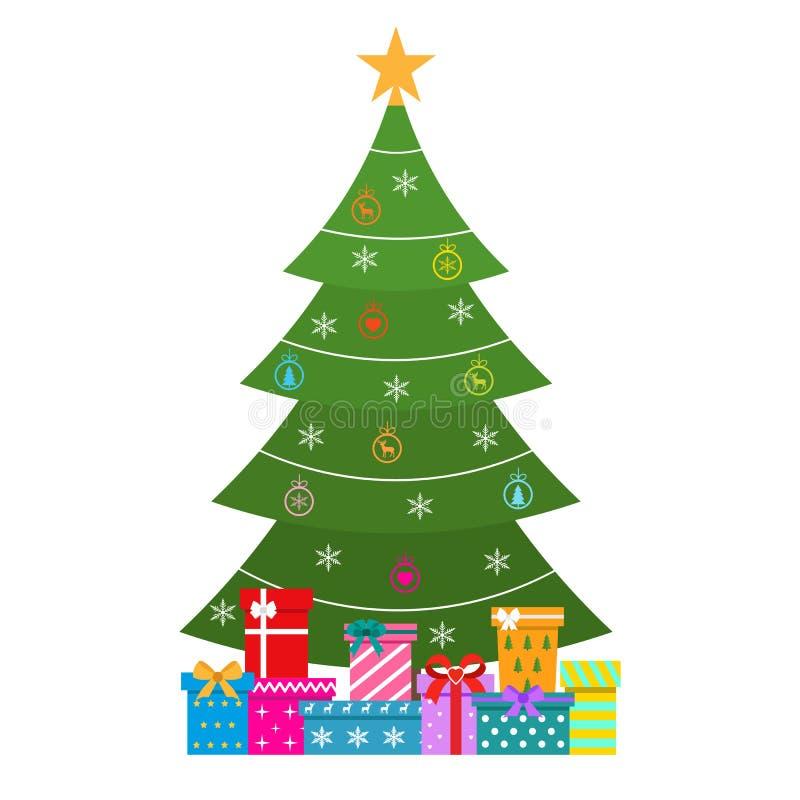 Ejemplo del día de fiesta con un árbol de navidad y los regalos ilustración del vector