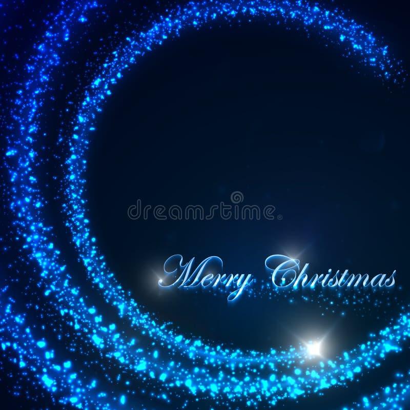 Ejemplo del día de fiesta de una estrella de la Navidad del vuelo y de chispas brillantes abstraiga el fondo Feliz Navidad stock de ilustración