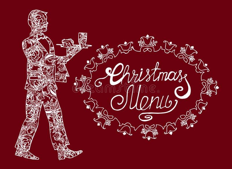 Ejemplo del día de fiesta Menú de la Navidad Postal con el camarero libre illustration
