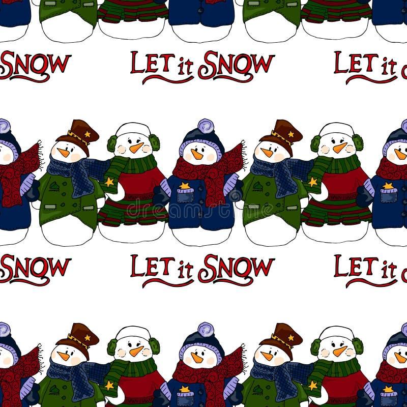 Ejemplo del día de fiesta Muñecos de nieve de la Navidad Invitación del Año Nuevo Figura del invierno Modelo inconsútil libre illustration