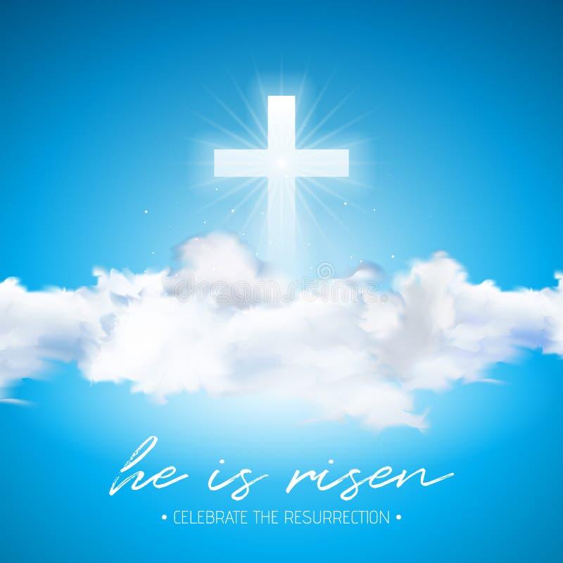 Ejemplo del día de fiesta de Pascua con la cruz y nube en fondo del cielo azul Él se levanta Diseño religioso cristiano del vecto libre illustration