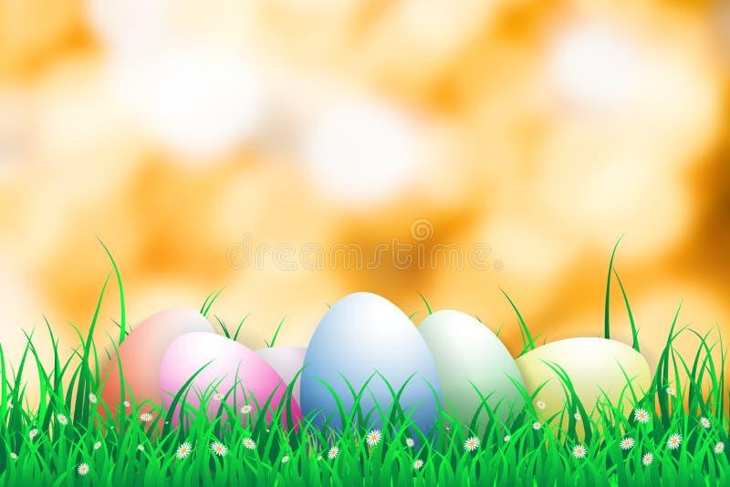 Ejemplo del día de pascua con un huevo en la flor floreciente de la hierba verde con el bokeh anaranjado en fondo, espacio de la  stock de ilustración