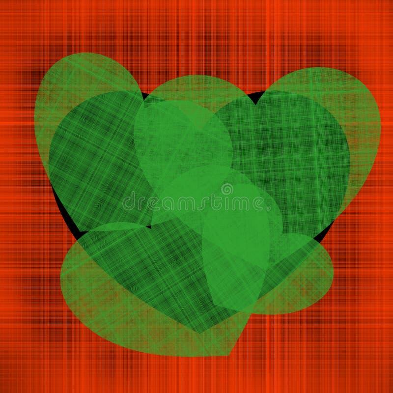 Ejemplo del día de tarjeta del día de San Valentín muchos corazones verdes de diversos tamaños en un corazón negro en un fondo de stock de ilustración