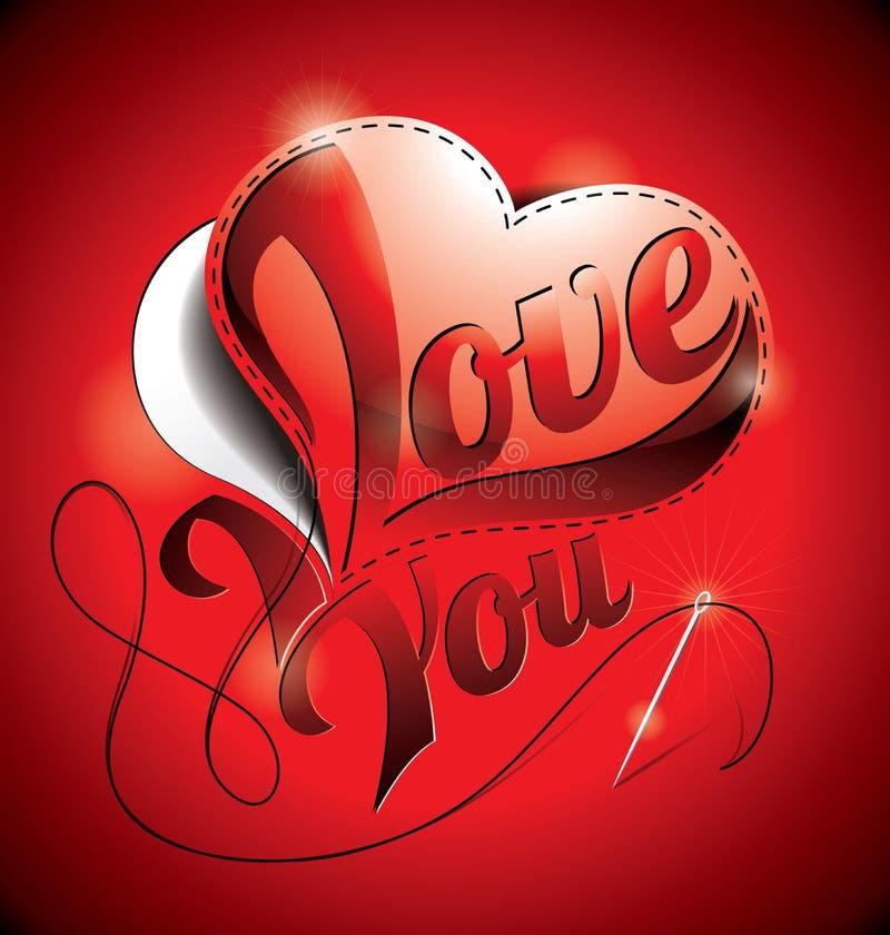 Ejemplo del día de tarjetas del día de San Valentín con te amo título y hea de costura stock de ilustración