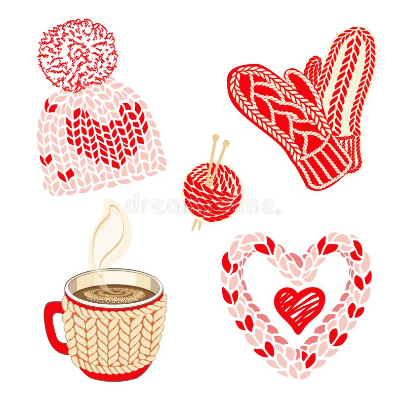Ejemplo del día de tarjetas del día de San Valentín con los accesorios hechos punto calientes: sombrero con el pom del pom, las m ilustración del vector