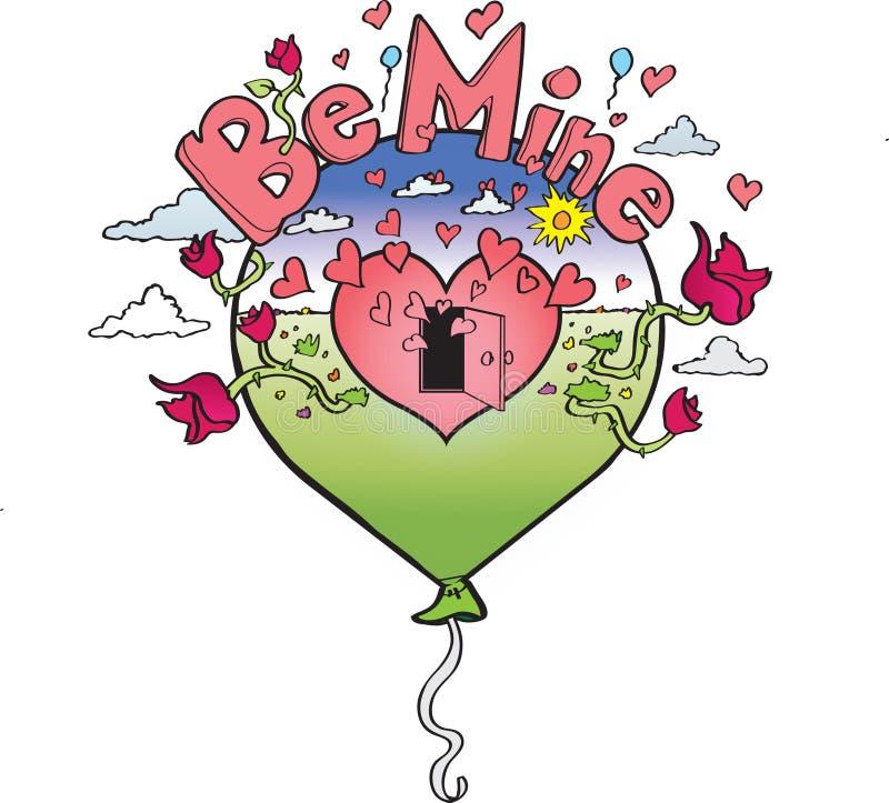 Ejemplo del día de tarjetas del día de San Valentín del globo del corazón foto de archivo libre de regalías