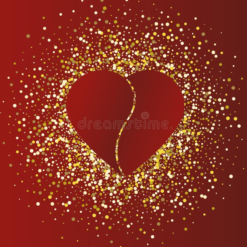Ejemplo del día del ` s de la tarjeta del día de San Valentín Corazón rojo en fondo rojo del oro ilustración del vector