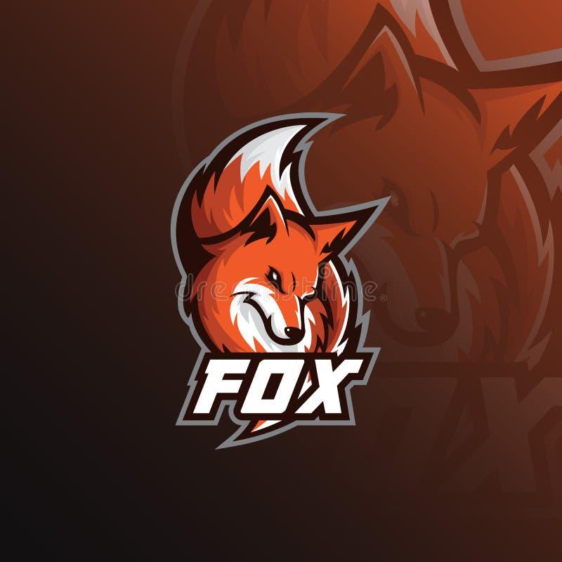 Ejemplo del deporte de la mascota del logotipo del Fox iconos modernos para los logotipos y el emblema ilustración del vector