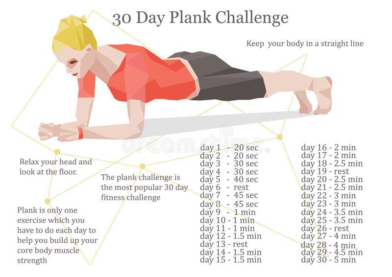 ejemplo del desafío del tablón de 30 días libre illustration