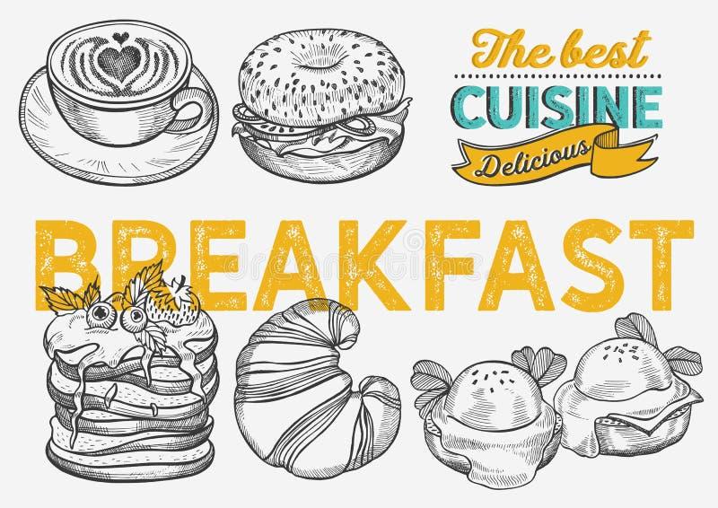 Ejemplo del desayuno y de la comida del brunch - panecillo, café, crepe, huevo libre illustration