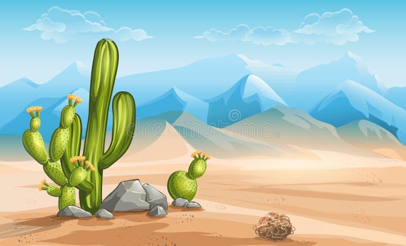 Ejemplo del desierto con el cactus en un fondo de montañas ilustración del vector