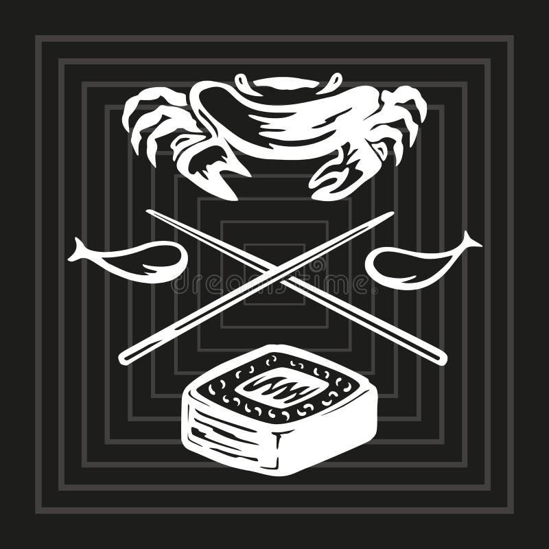 Ejemplo del dibujo de esquema blanco y negro con la comida de los pescados y del arroz con los elementos de palillos, de pescados libre illustration