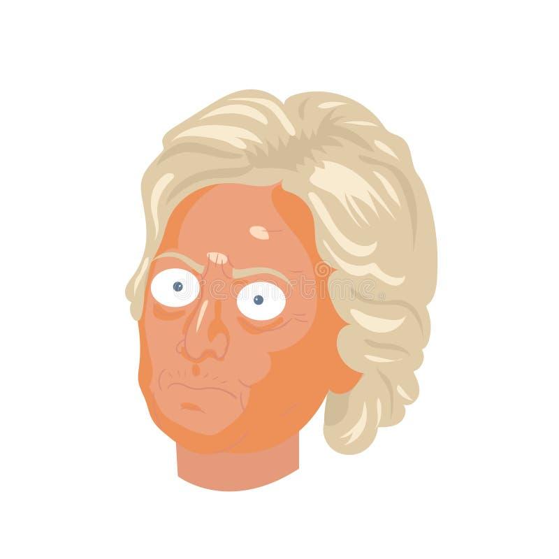 Ejemplo del dibujo de la caricatura Retrato del carácter de Hillary Clinton ilustración del vector