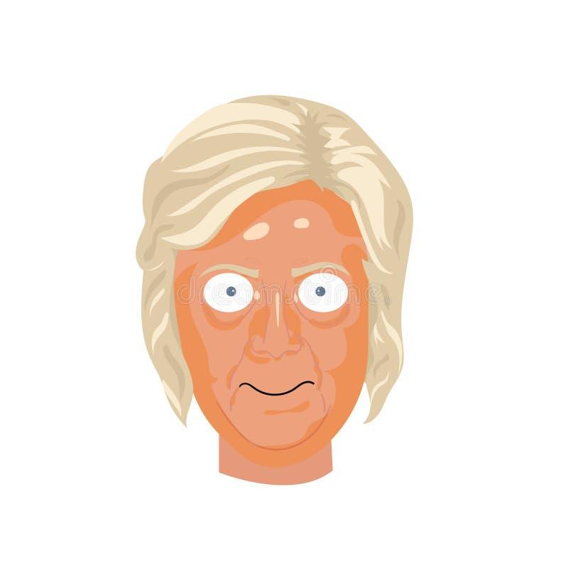 Ejemplo del dibujo de la caricatura Retrato del carácter de Hillary Clinton enojada ilustración del vector