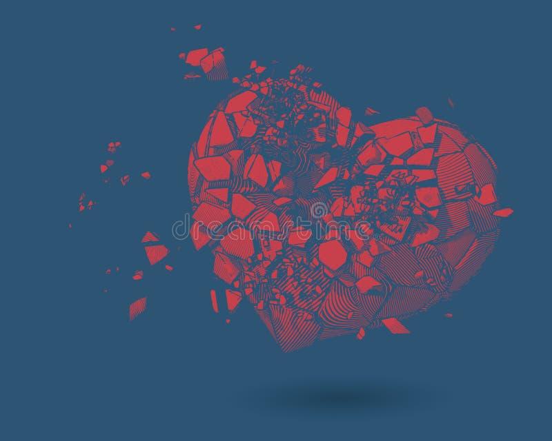 Ejemplo del dibujo del corazón quebrado en BG azul stock de ilustración