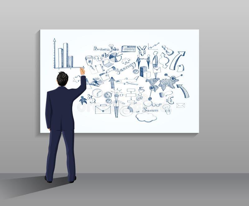 Ejemplo del dibujo del hombre de negocios stock de ilustración