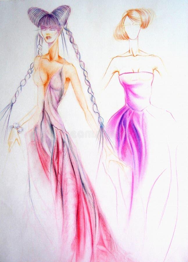 Ejemplo del diseño de la moda, ejemplo de la mujer elegante stock de ilustración