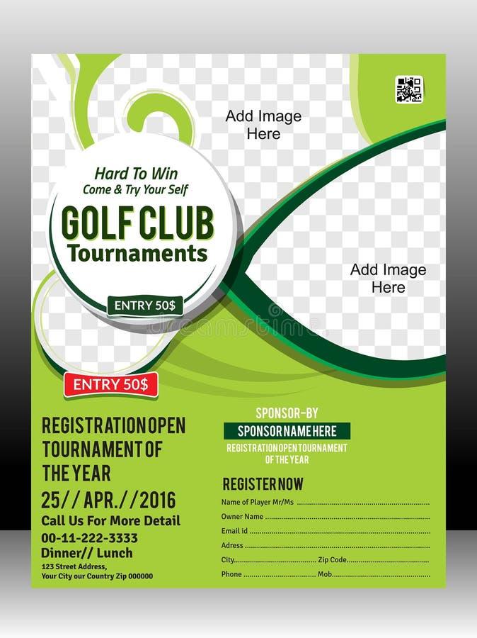 Ejemplo del diseño de la plantilla del aviador del torneo del golf libre illustration