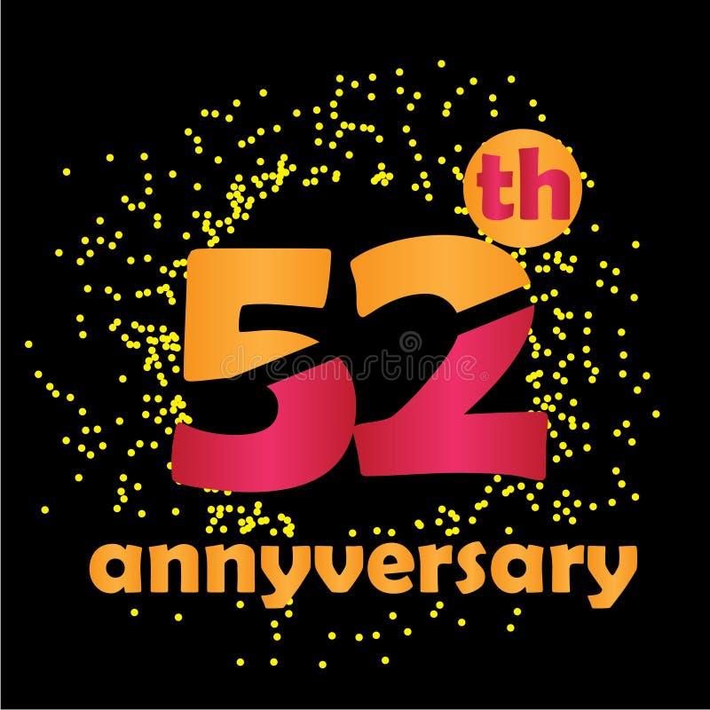 Ejemplo del diseño de la plantilla del vector del aniversario de 52 años - vector libre illustration