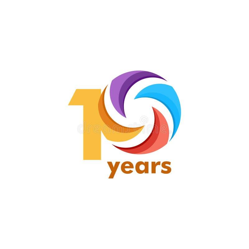 Ejemplo del diseño de la plantilla del vector del arco iris del aniversario de 10 años stock de ilustración