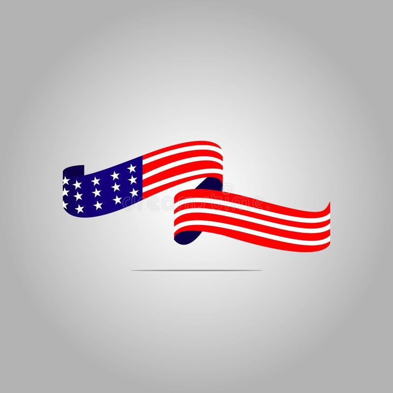 Ejemplo del diseño de la plantilla del vector de la bandera americana stock de ilustración