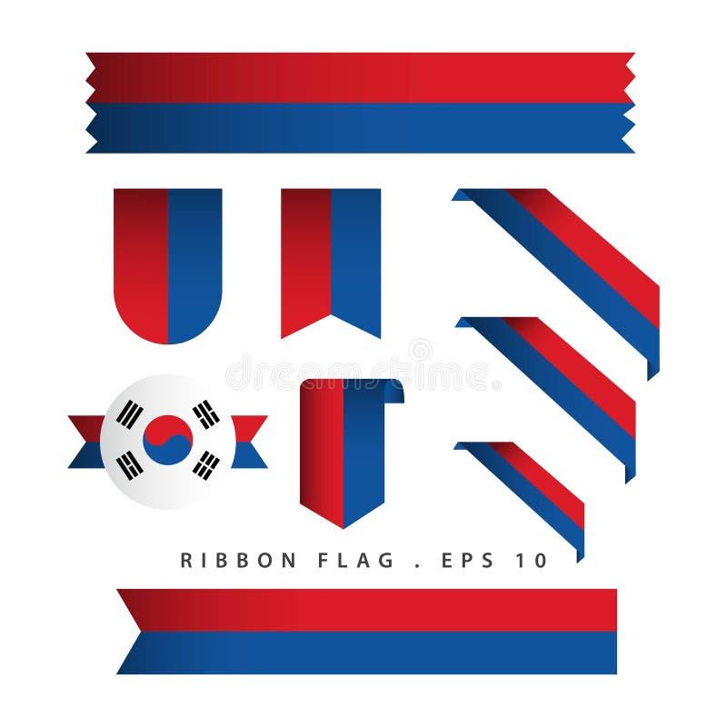 Ejemplo del diseño de la plantilla del vector de la bandera de la cinta de la república de Corea ilustración del vector