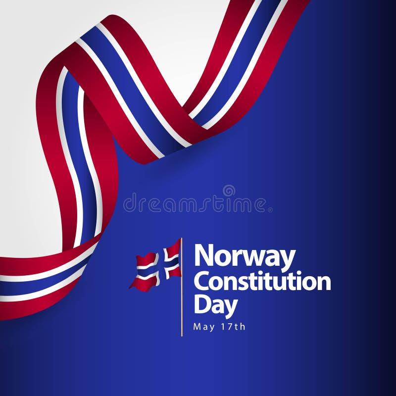 Ejemplo del diseño de la plantilla del vector de la bandera del día de la constitución de Noruega libre illustration