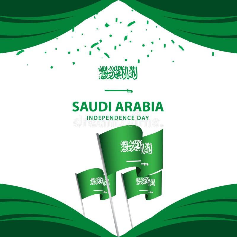 Ejemplo del diseño de la plantilla del vector del cartel del Día de la Independencia de la Arabia Saudita stock de ilustración