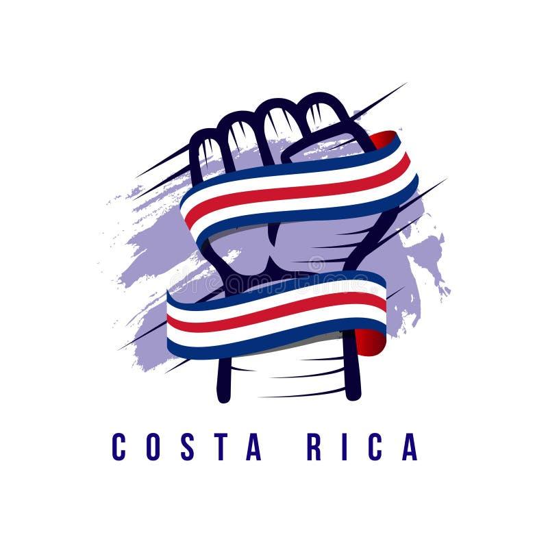 Ejemplo del diseño de la plantilla del vector de Costa Rica Hand y de la bandera stock de ilustración