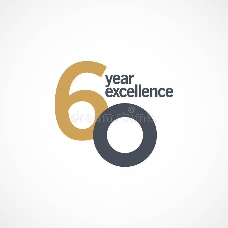 Ejemplo del diseño de la plantilla del vector de la excelencia del aniversario de 60 años imágenes de archivo libres de regalías