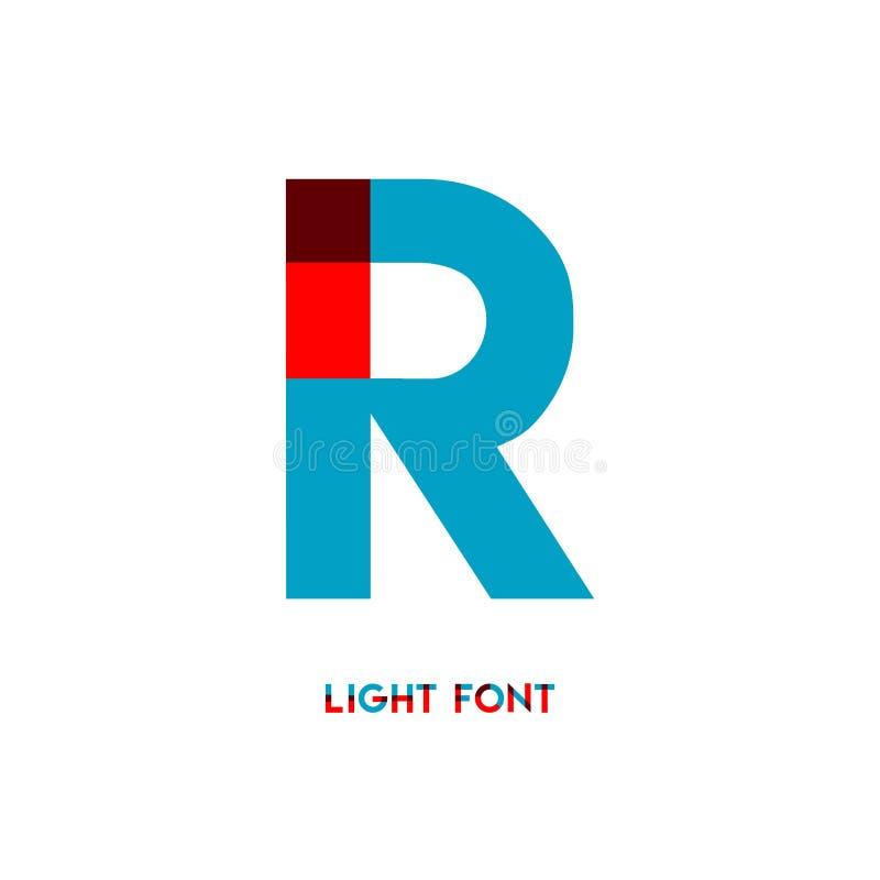 Ejemplo del diseño de la plantilla del vector de la fuente de la luz de R libre illustration