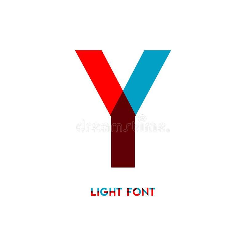 Ejemplo del diseño de la plantilla del vector de la fuente de la luz de Y libre illustration