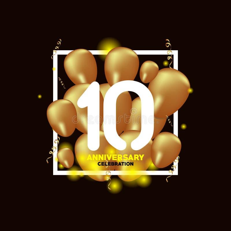 Ejemplo del diseño de la plantilla del vector del globo del oro blanco del aniversario de 10 años stock de ilustración