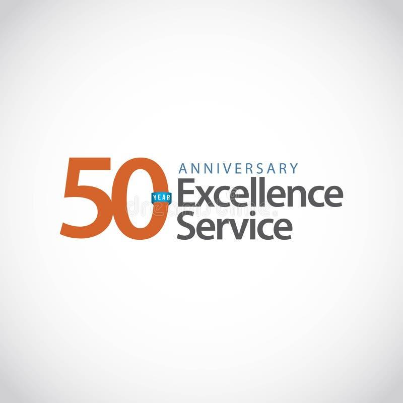 Ejemplo del diseño de la plantilla del vector del servicio de la excelencia del aniversario de 50 años libre illustration