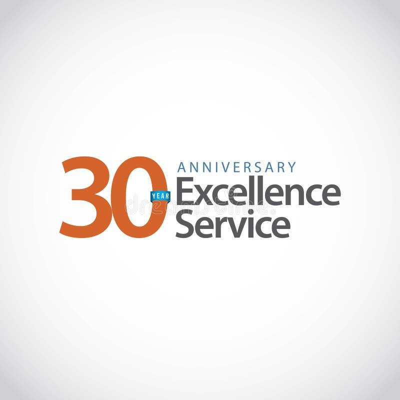 Ejemplo del diseño de la plantilla del vector del servicio de la excelencia del aniversario de 30 años libre illustration