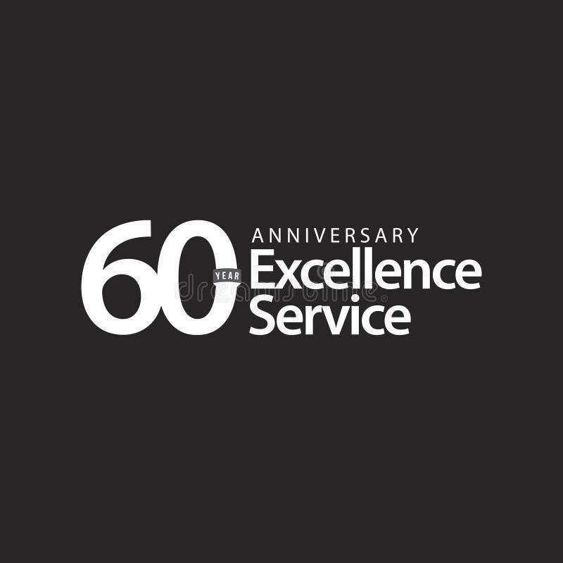 Ejemplo del diseño de la plantilla del vector del servicio de la excelencia del aniversario de 60 años libre illustration