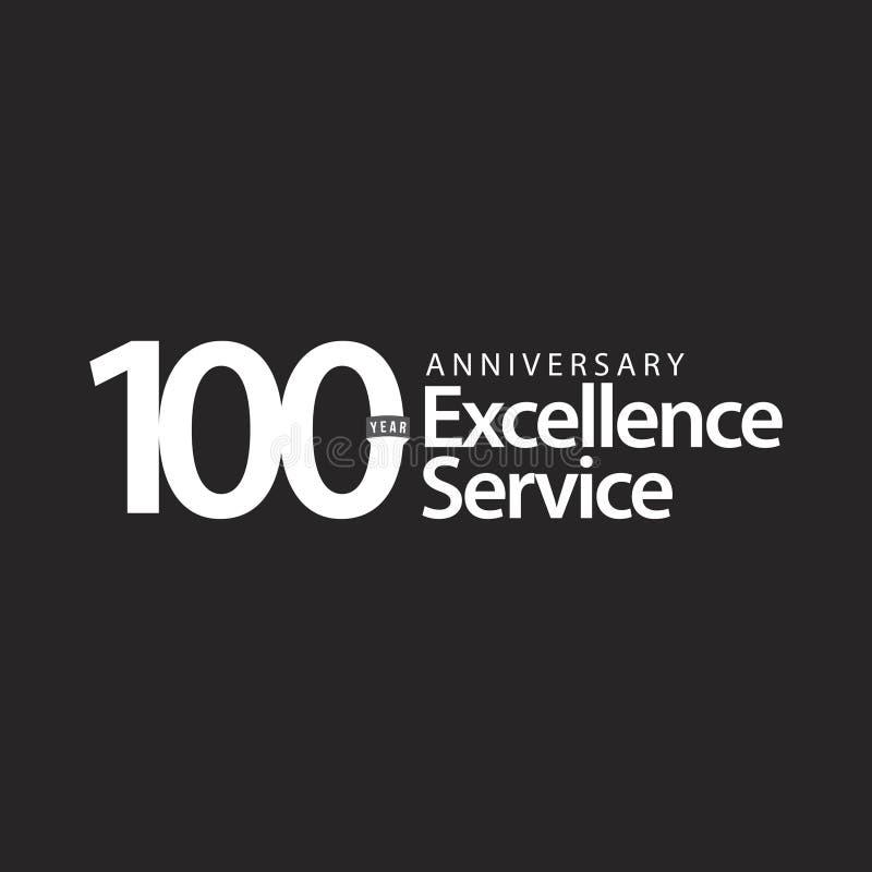 Ejemplo del diseño de la plantilla del vector del servicio de la excelencia del aniversario de 100 años stock de ilustración