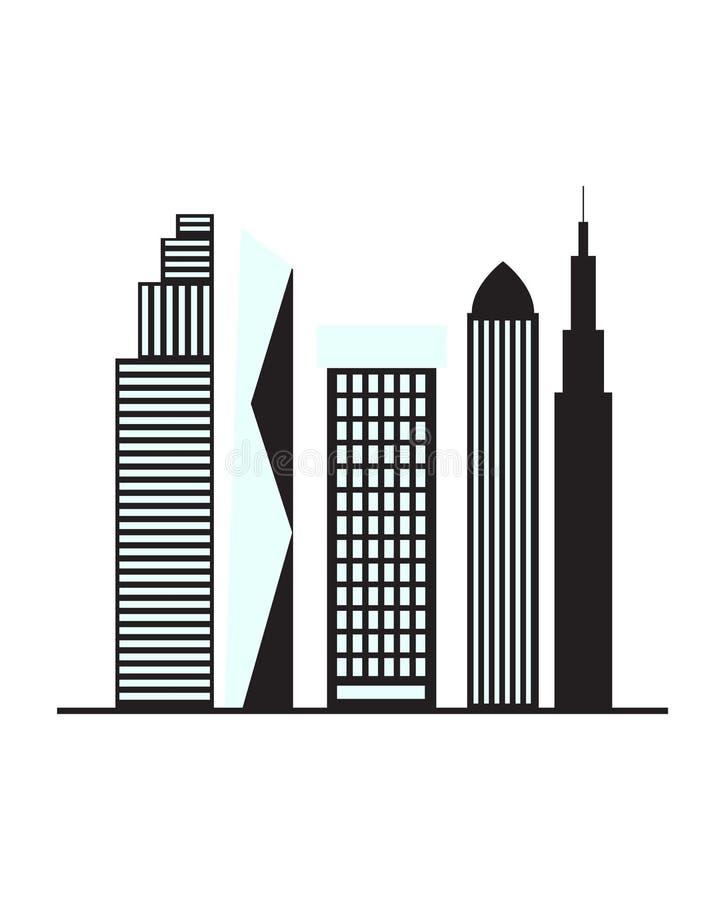 Ejemplo del diseño del logotipo del edificio en el fondo blanco ilustración del vector