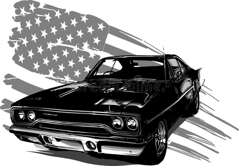 Ejemplo del diseño gráfico de vector de un coche americano del músculo stock de ilustración