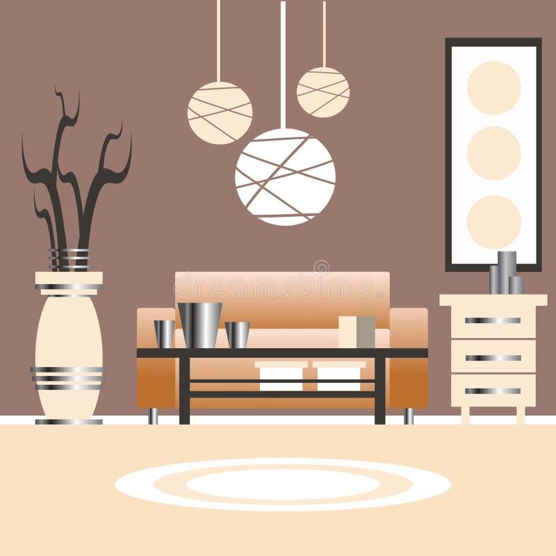 Ejemplo del diseño interior de la sala de estar ilustración del vector