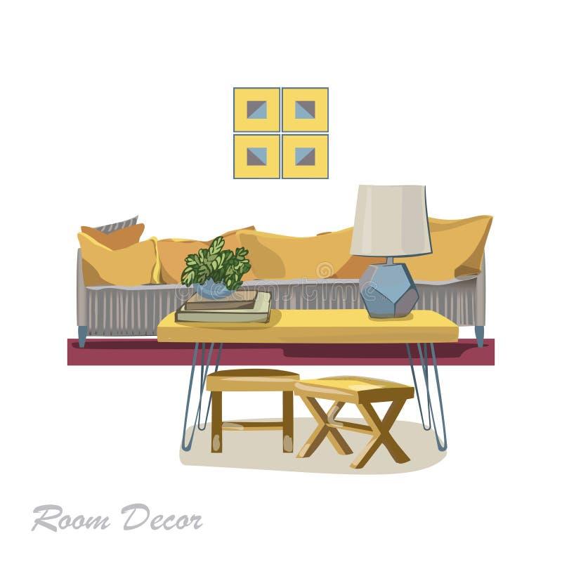 Ejemplo del diseño interior Sala de estar amarilla moderna s de moda libre illustration