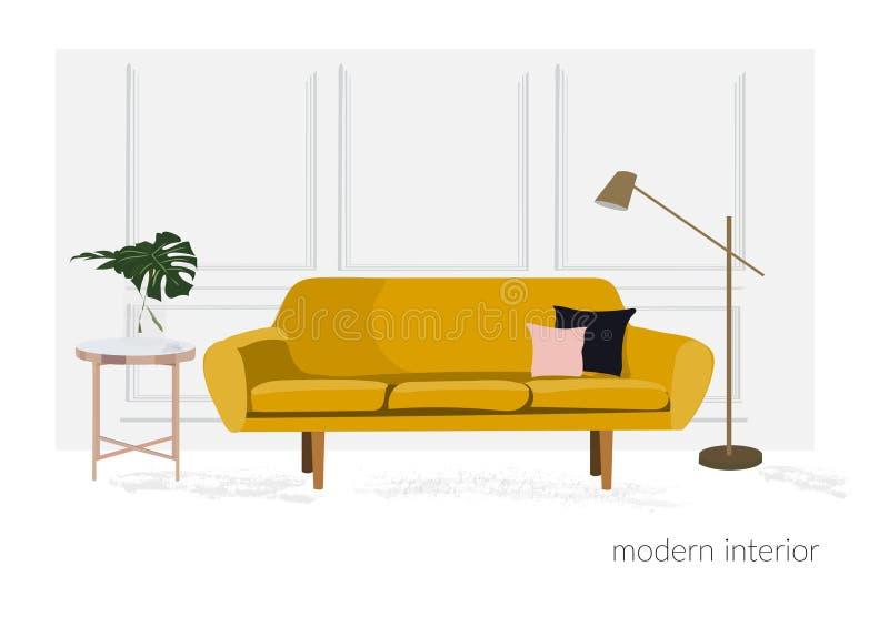 Ejemplo del diseño interior del vector Muebles de la sala de estar decoración de moda del hogar de la tendencia libre illustration