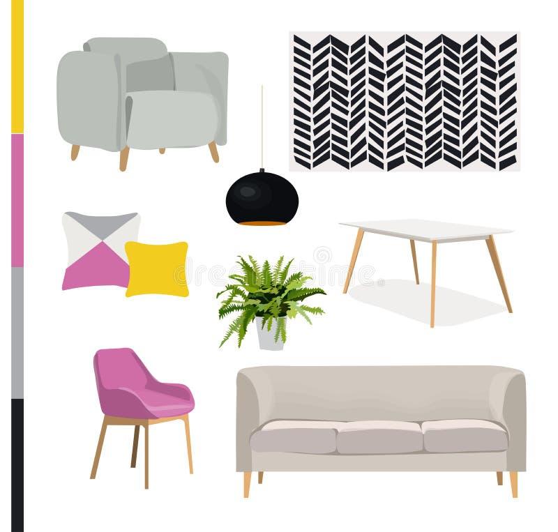 Ejemplo Del Diseño Interior Del Vector Muebles De Moda Ilustración ...
