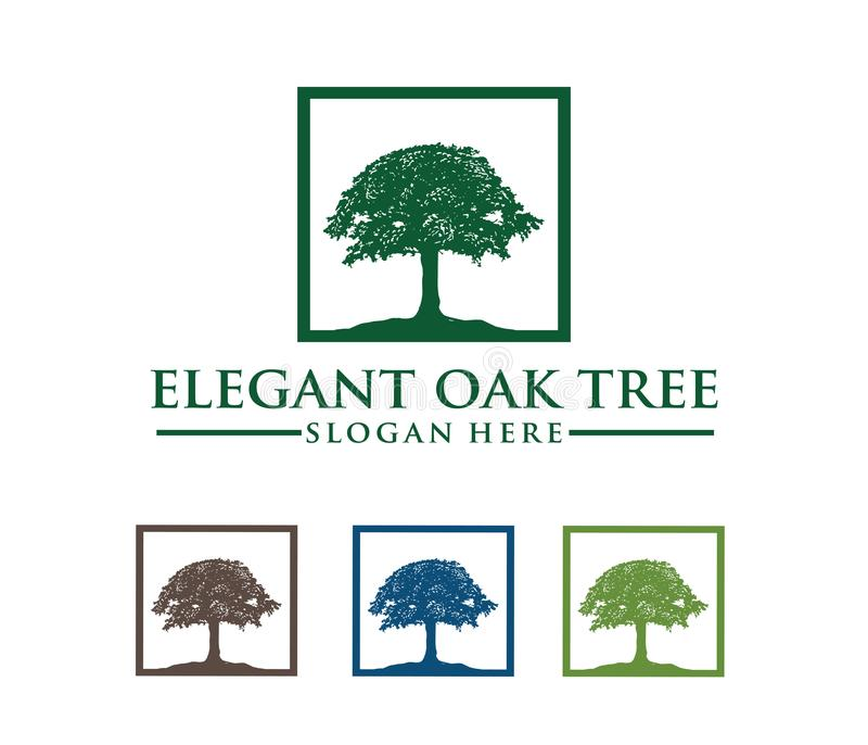 Ejemplo del diseño del logotipo del vector del logotipo del roble, sabio y fuerte, empresa de la propiedad de casa, centro turíst stock de ilustración