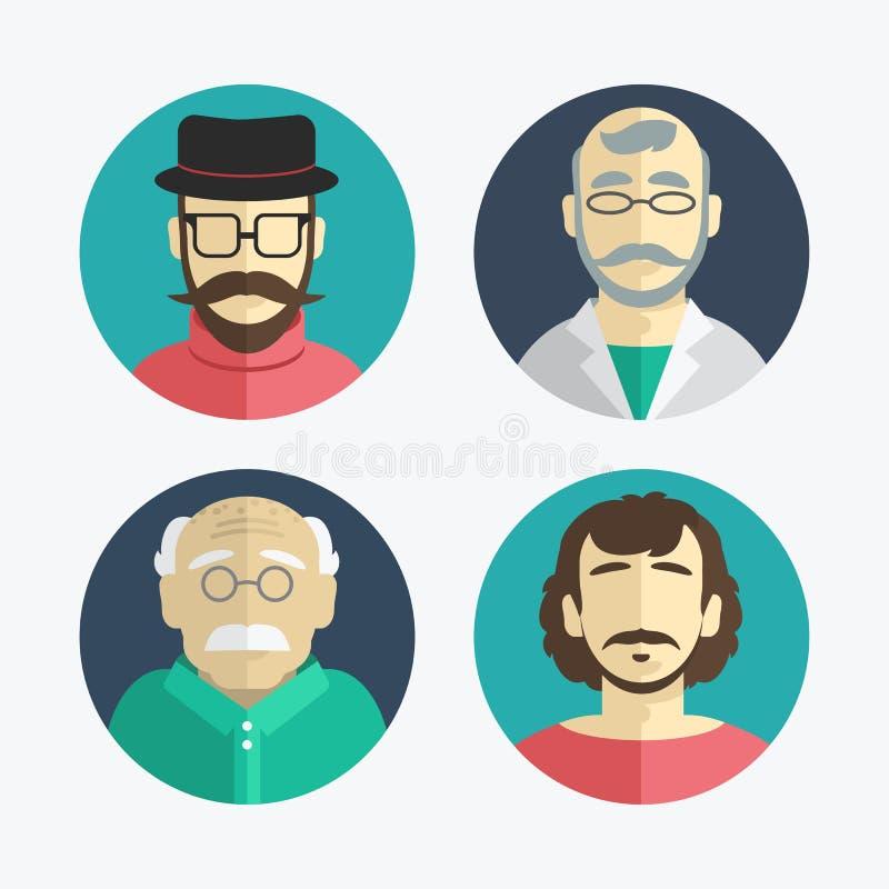 Ejemplo del diseño plano iconos de los hombres ilustración del vector