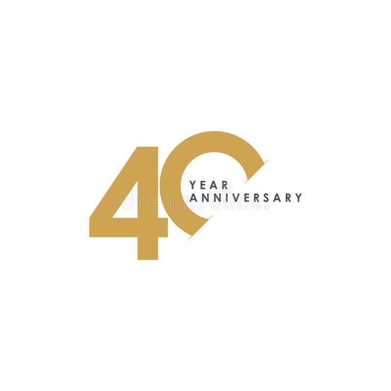 Ejemplo del diseño del vector del aniversario de 40 años stock de ilustración