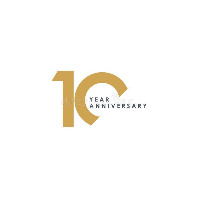Ejemplo del diseño del vector del aniversario de 10 años ilustración del vector