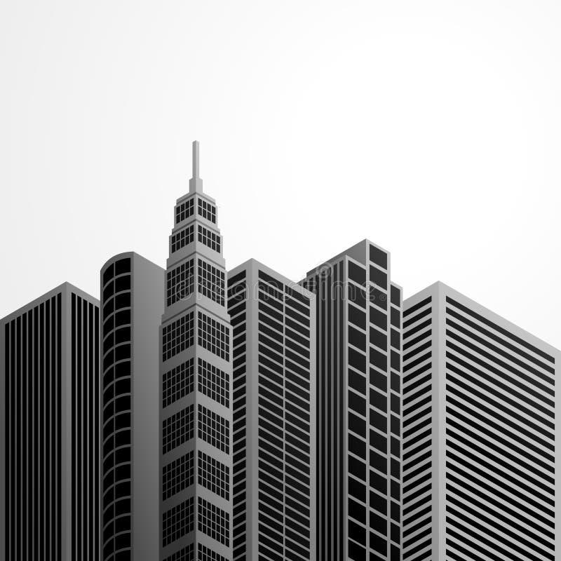 Ejemplo del diseño del vector del bosquejo del edificio de la ciudad stock de ilustración