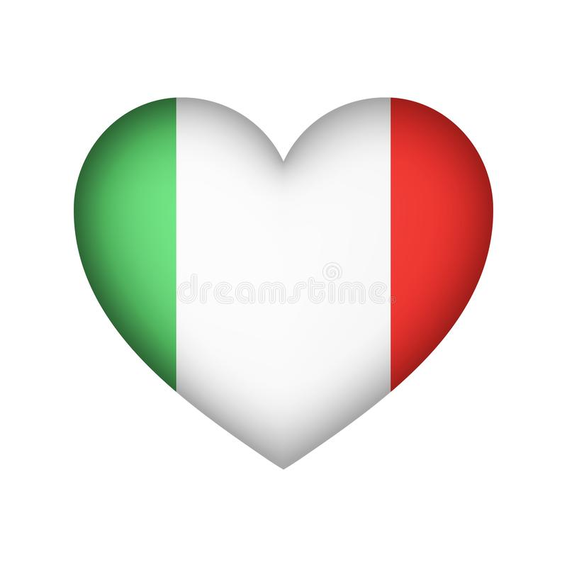 Ejemplo del diseño del vector del corazón de la bandera de Italia ilustración del vector