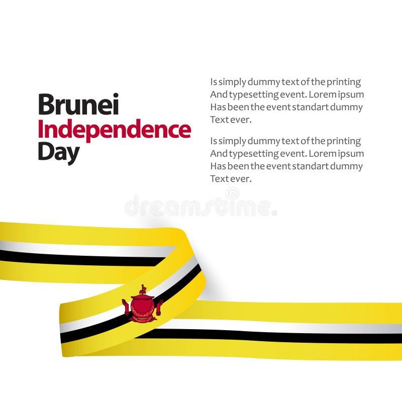 Ejemplo del diseño del vector del Día de la Independencia de Brunei stock de ilustración